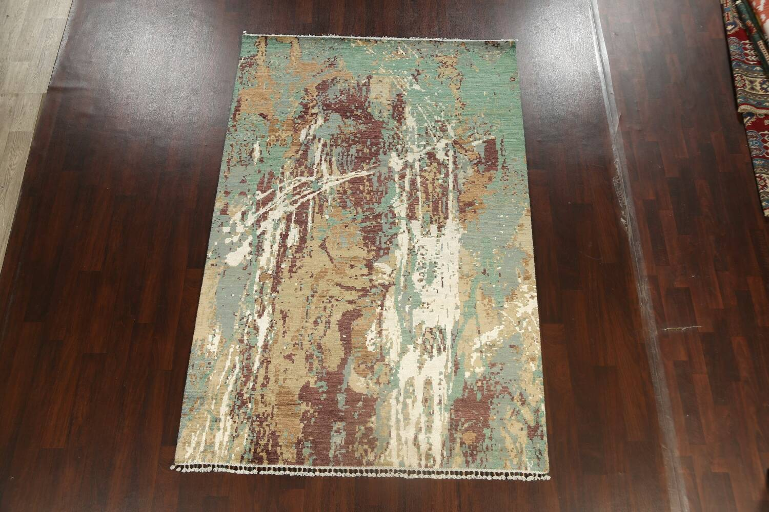 Vegetable Dye Contemporary Abstract Oriental Area Rug 6x9 image 2