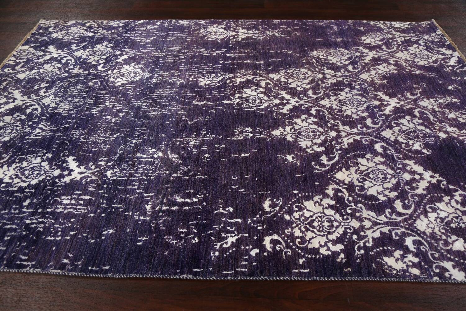 Vegetable Dye Distressed Abstract Oriental Area Rug 6x9 image 13