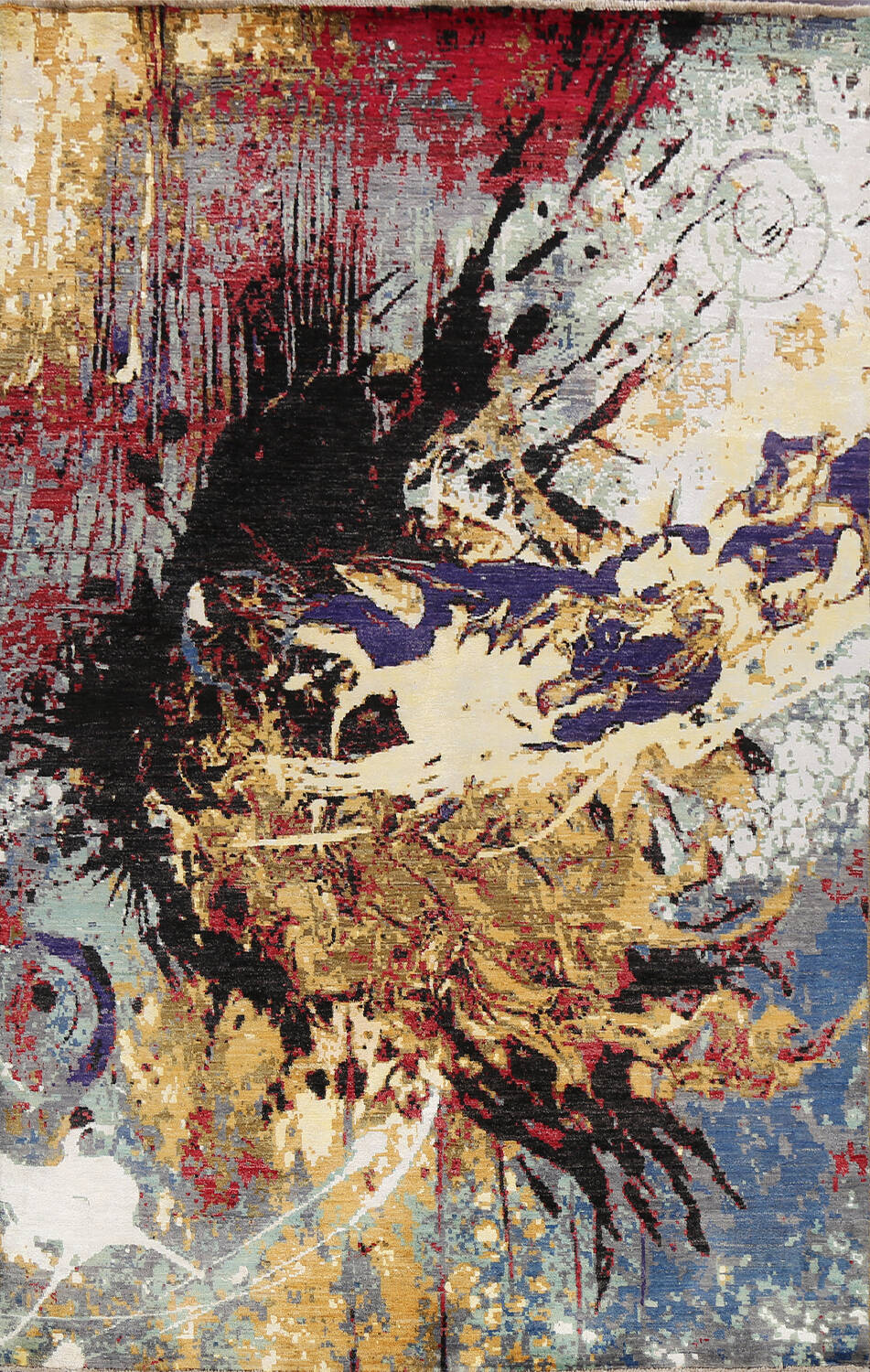 Vegetable Dye Contemporary Abstract Oriental Area Rug 6x9 image 1