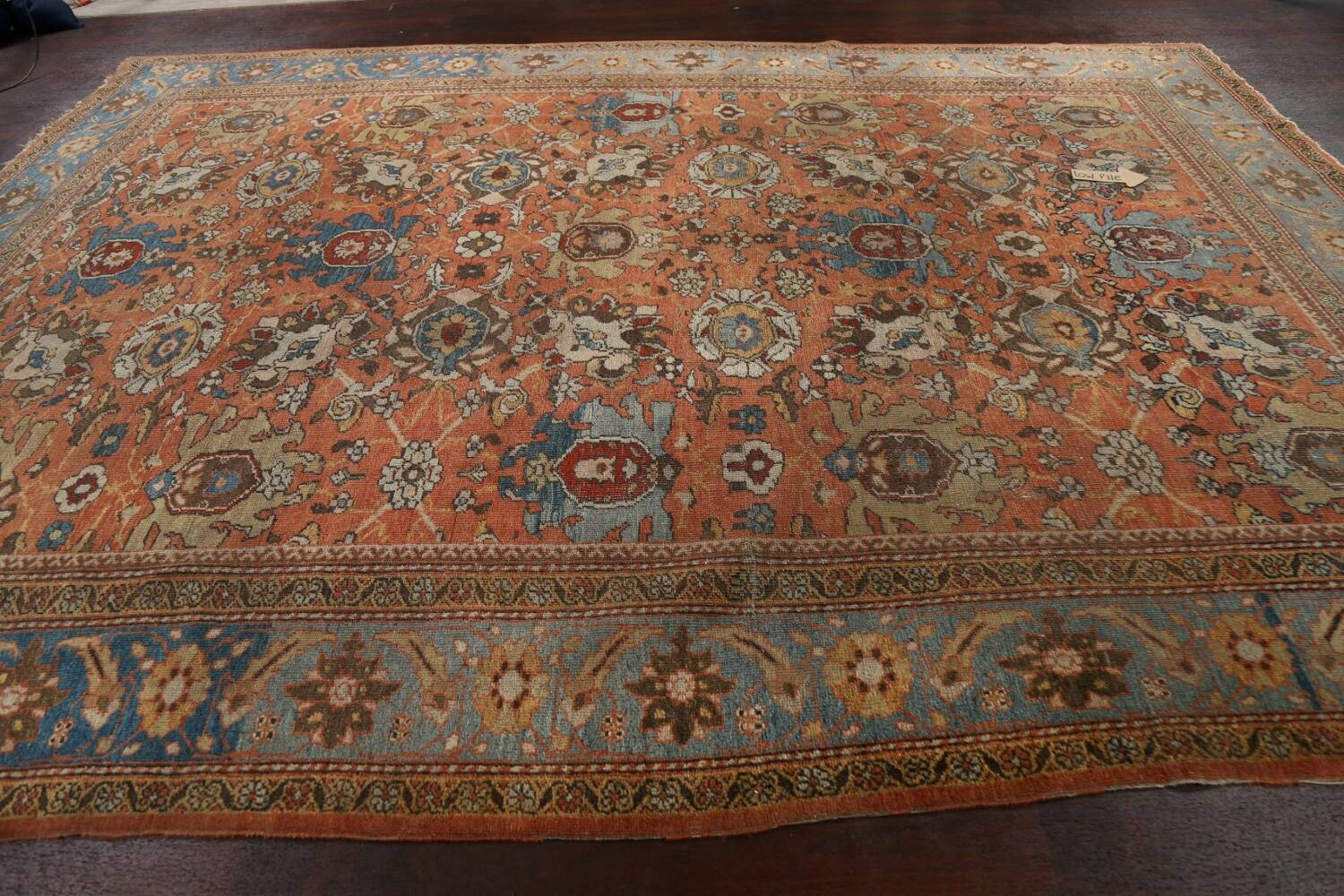 Pre-1900 Antique Vegetable Dye Sultanabad Persian Area Rug 9x12 image 14