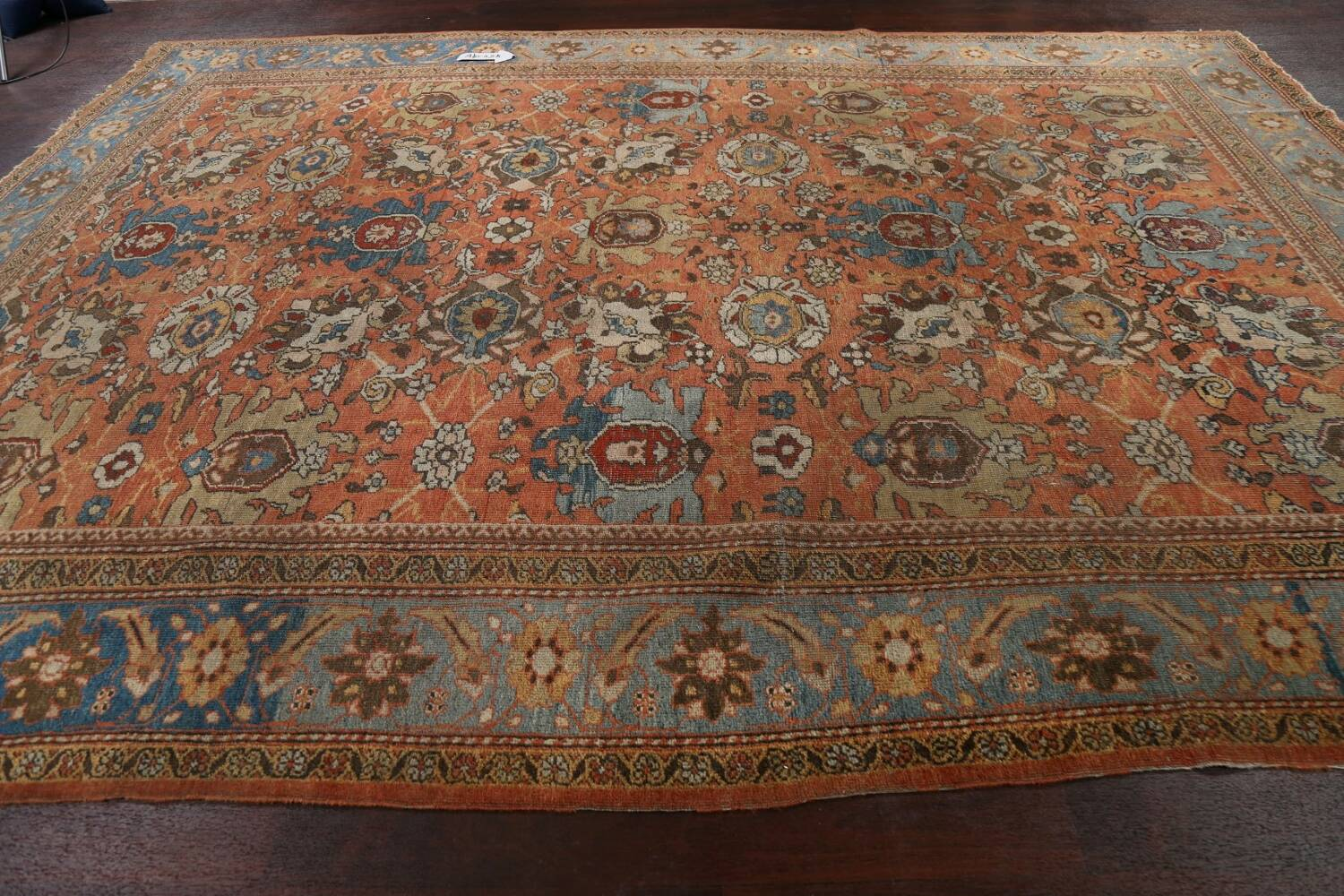Pre-1900 Antique Vegetable Dye Sultanabad Persian Area Rug 9x12 image 16