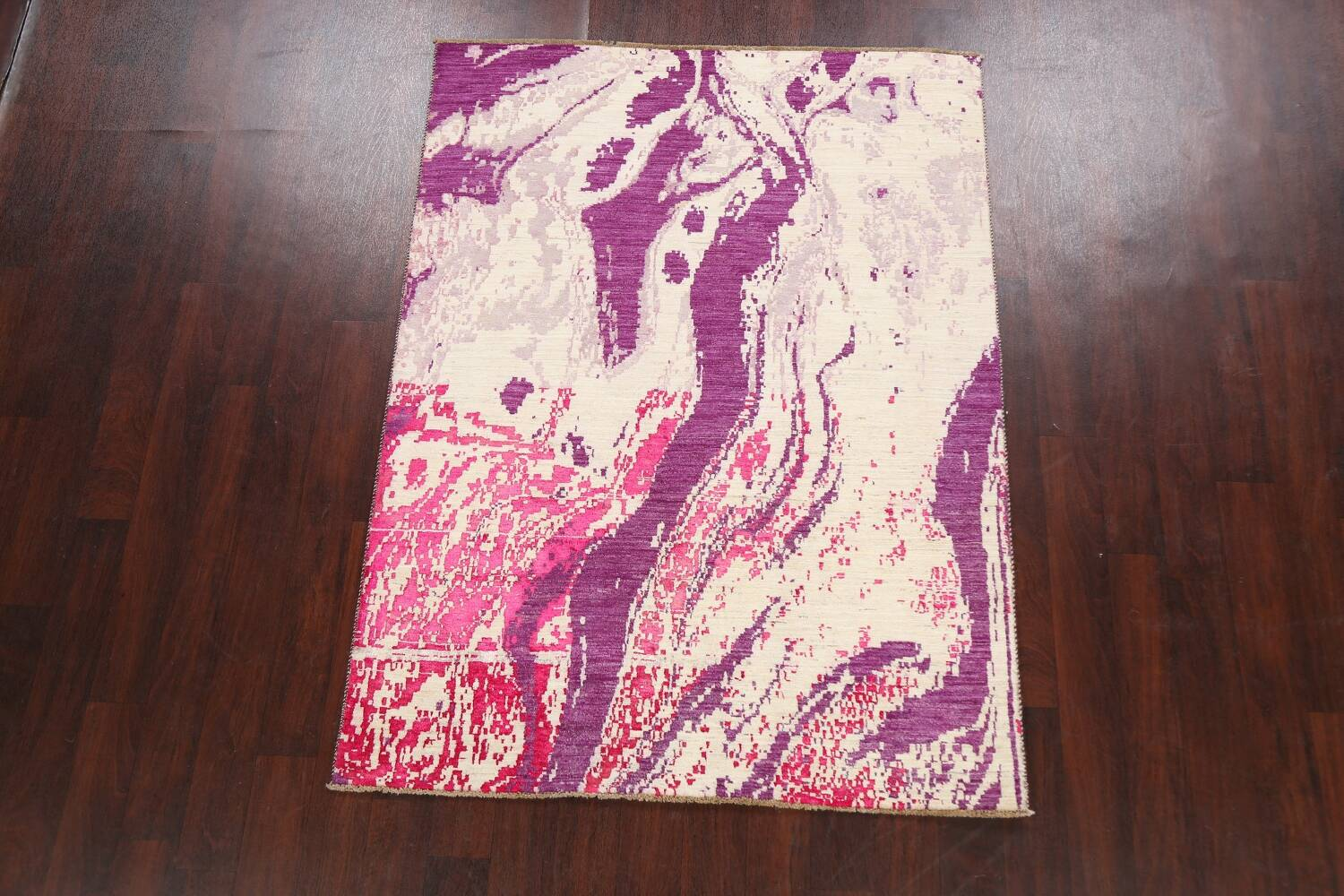 Vegetable Dye Contemporary Abstract Oriental Area Rug 5x6 image 2
