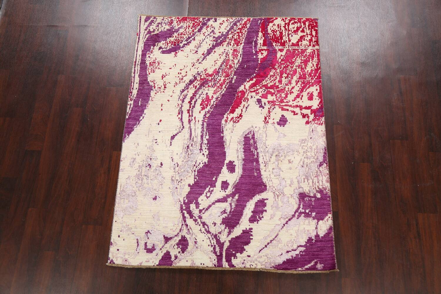 Vegetable Dye Contemporary Abstract Oriental Area Rug 5x6 image 13