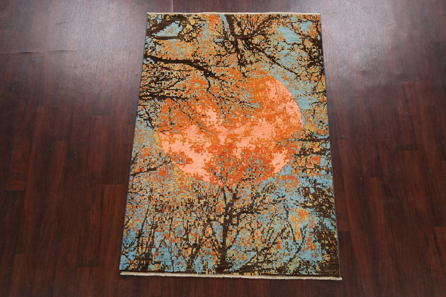 Vegetable Dye Contemporary Abstract Oriental Area Rug 4x6 image 2