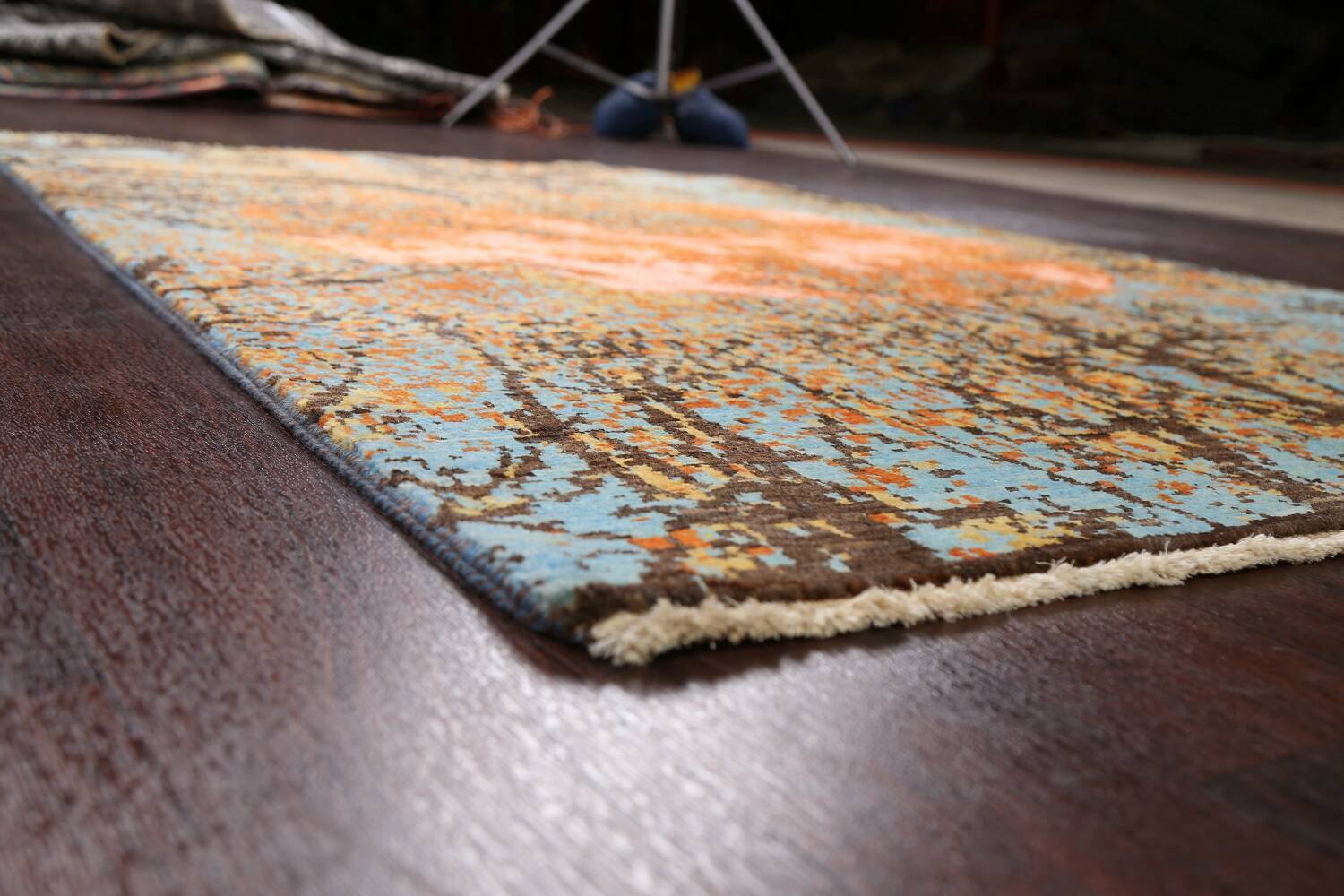 Vegetable Dye Contemporary Abstract Oriental Area Rug 4x6 image 6