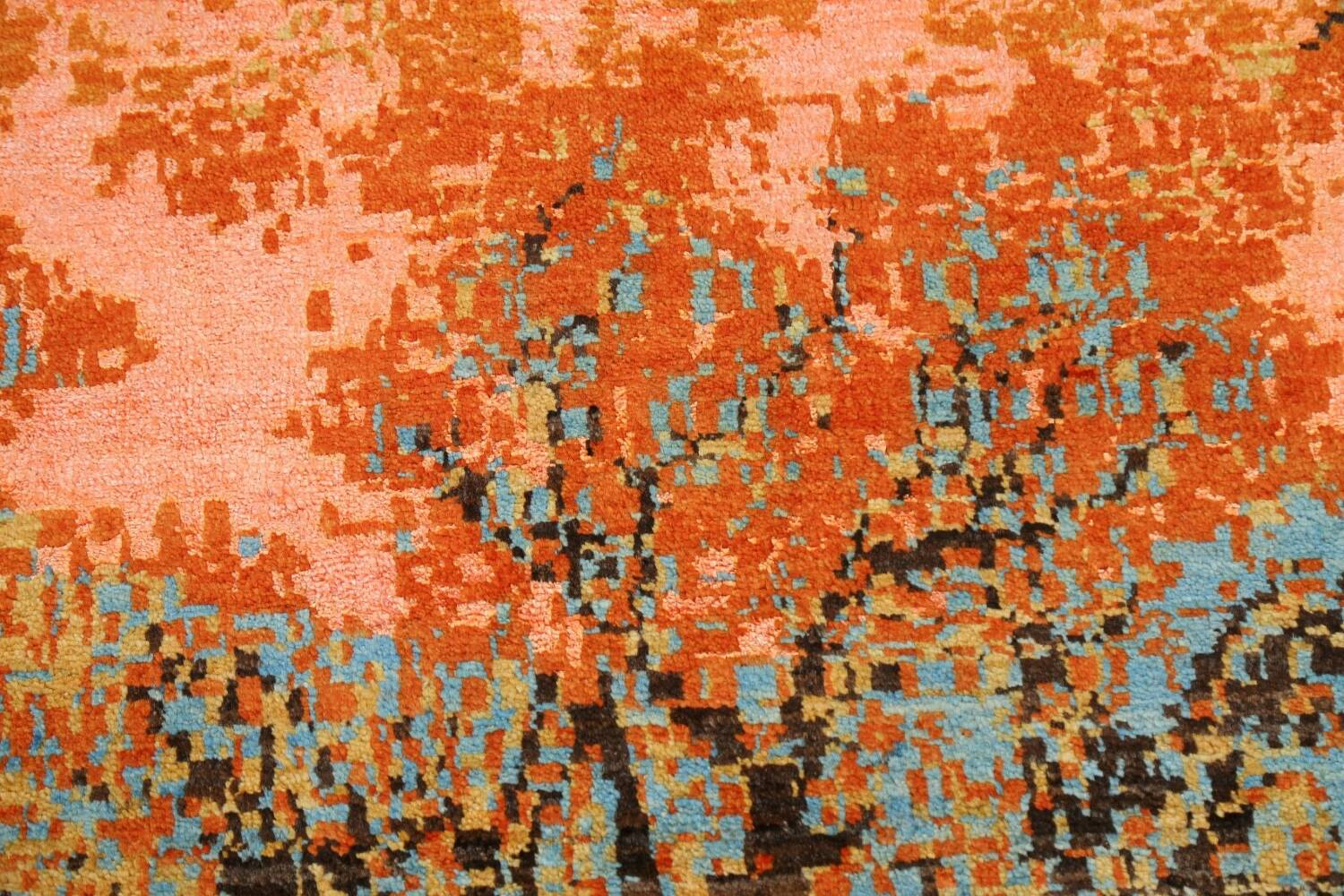Vegetable Dye Contemporary Abstract Oriental Area Rug 4x6 image 9