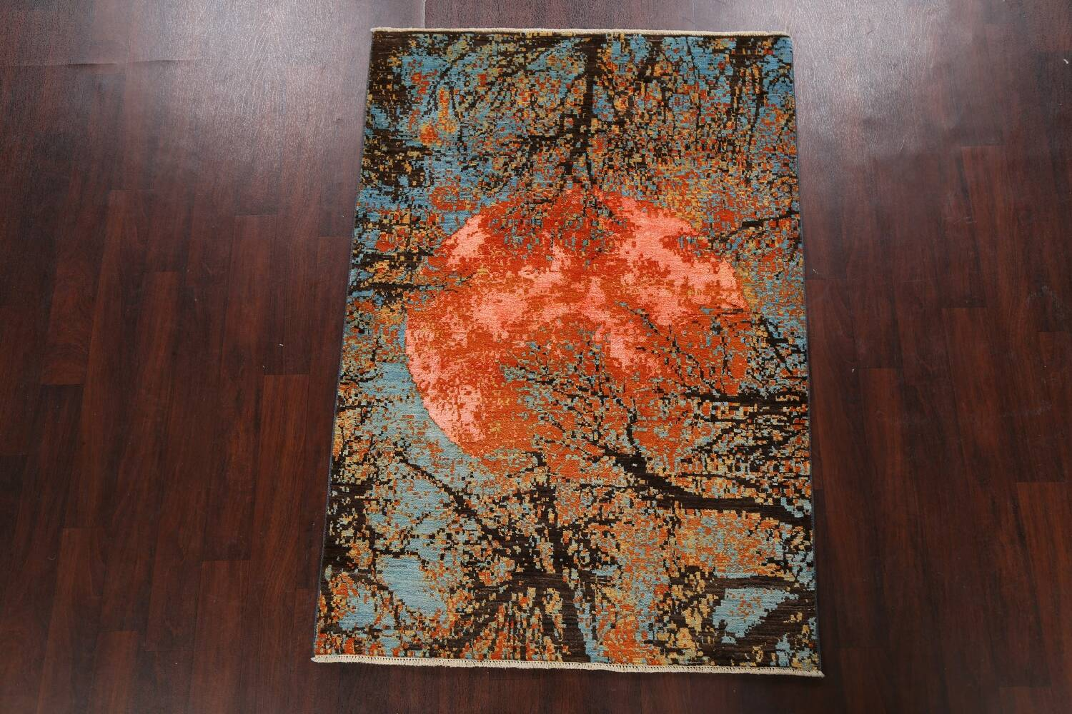 Vegetable Dye Contemporary Abstract Oriental Area Rug 4x6 image 13