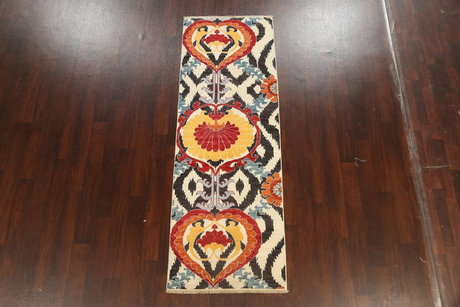 All-Over Floral IKats Oriental Runner Rug 3x8 image 2