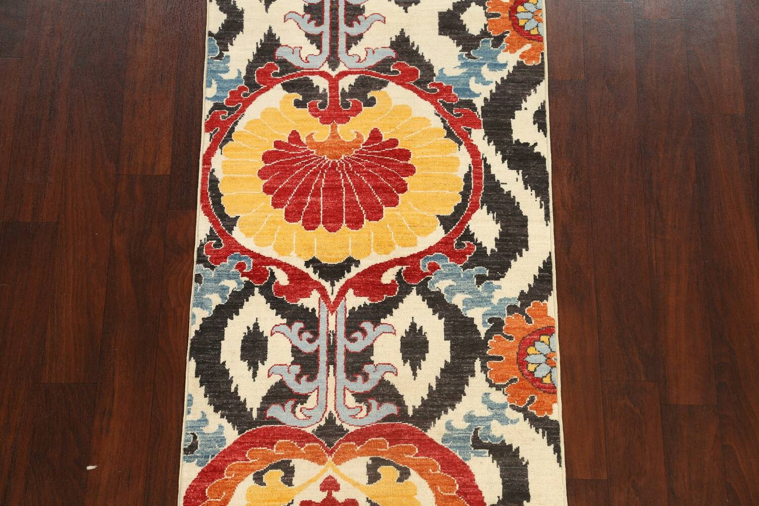 All-Over Floral IKats Oriental Runner Rug 3x8 image 3