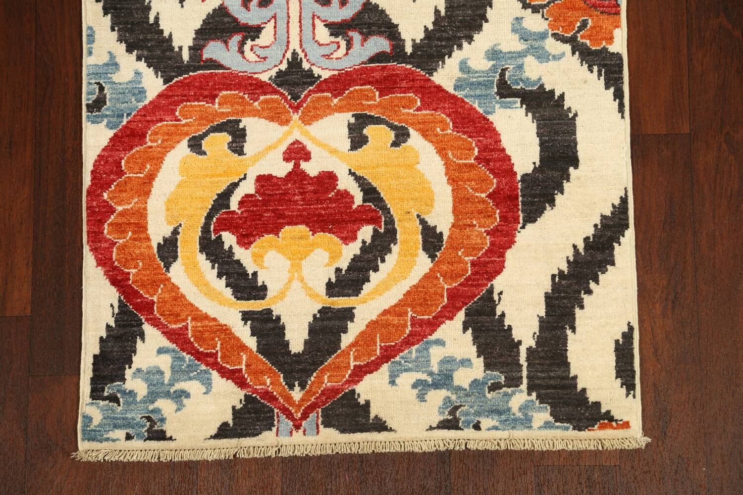 All-Over Floral IKats Oriental Runner Rug 3x8 image 8