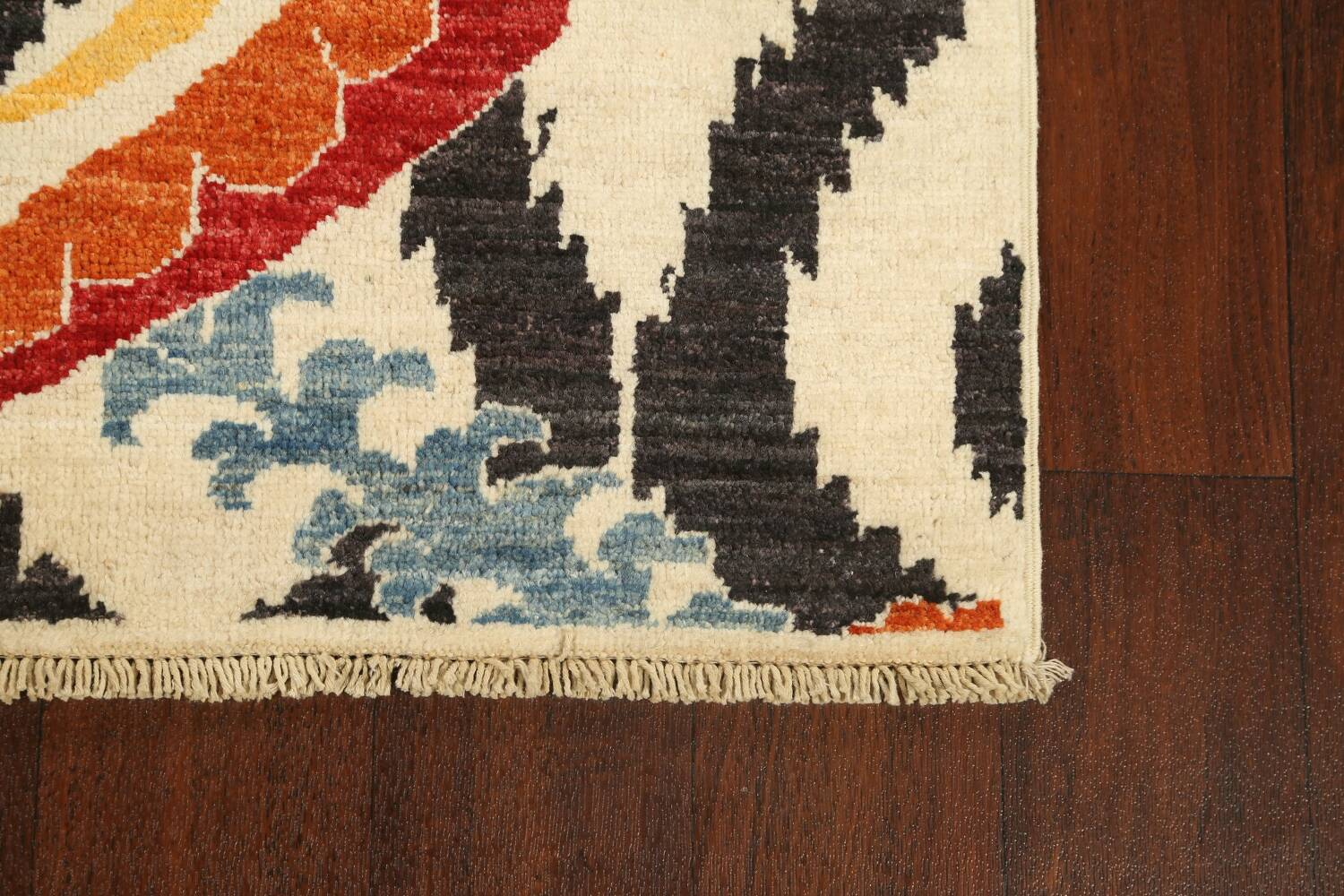 All-Over Floral IKats Oriental Runner Rug 3x8 image 5