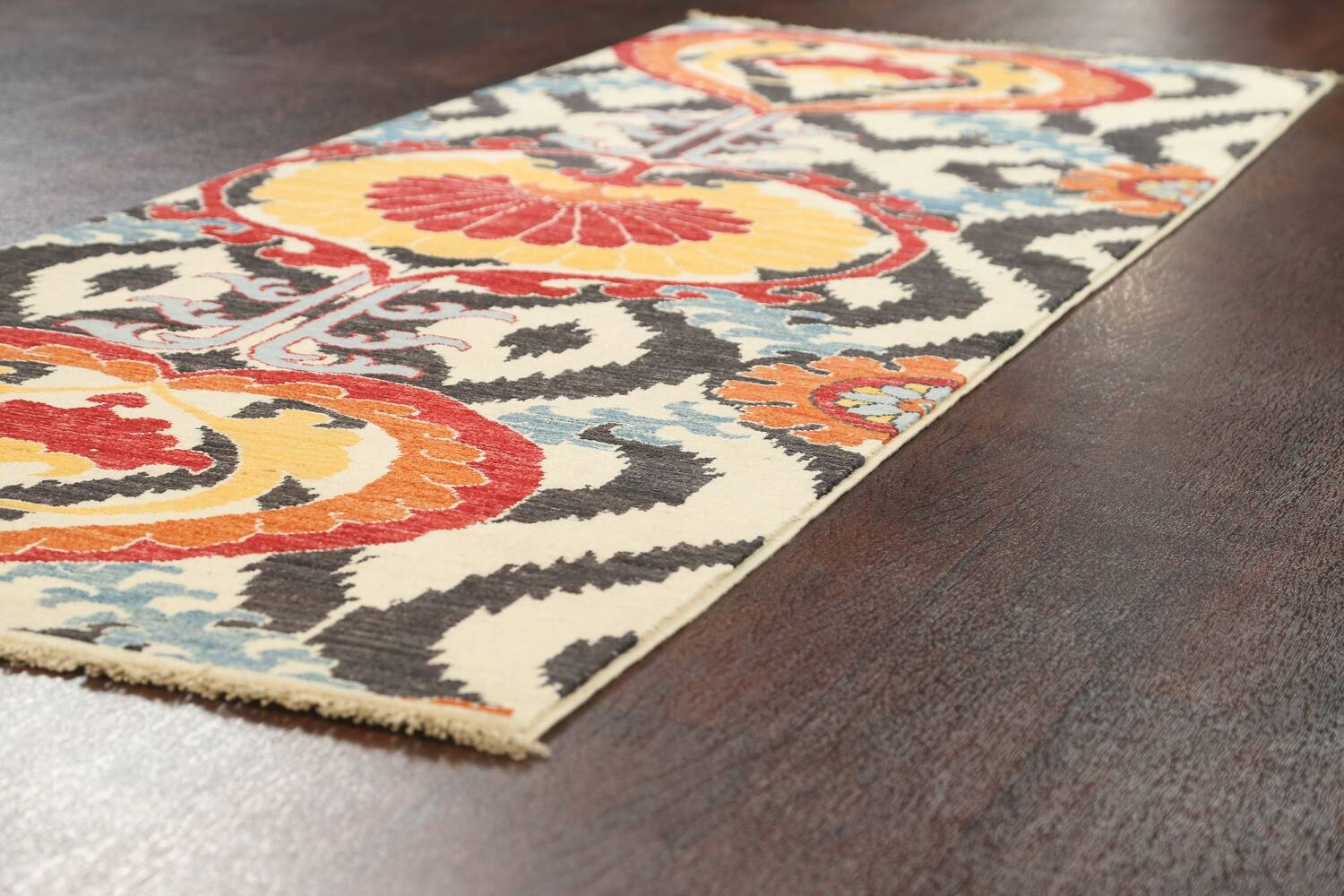 All-Over Floral IKats Oriental Runner Rug 3x8 image 6