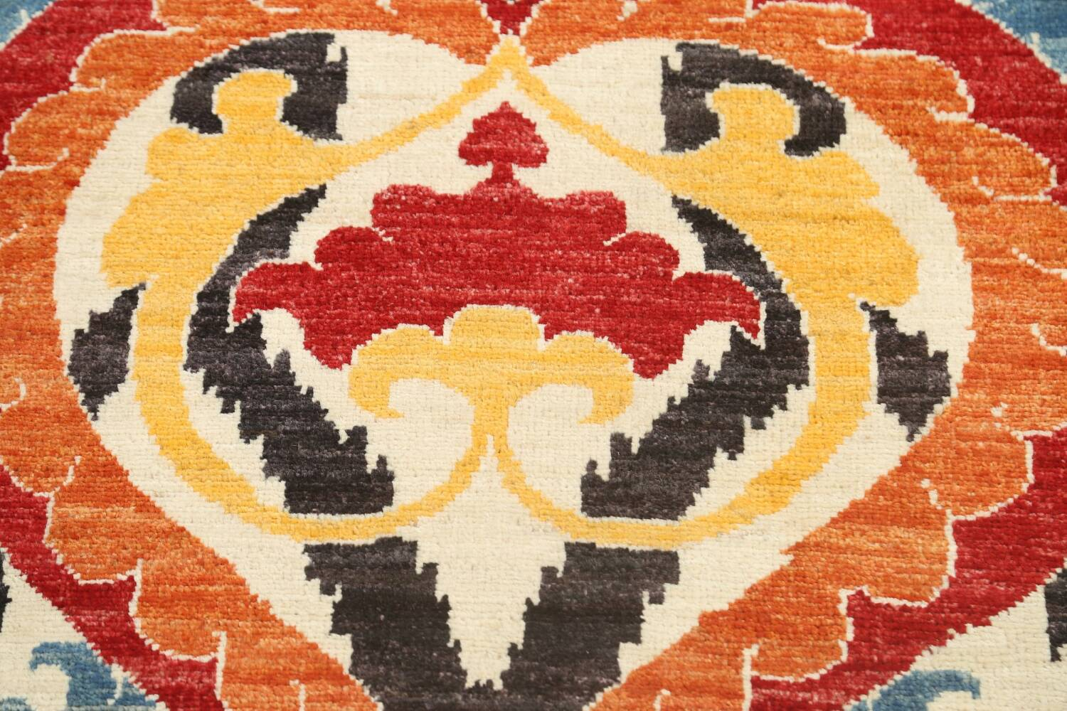 All-Over Floral IKats Oriental Runner Rug 3x8 image 9