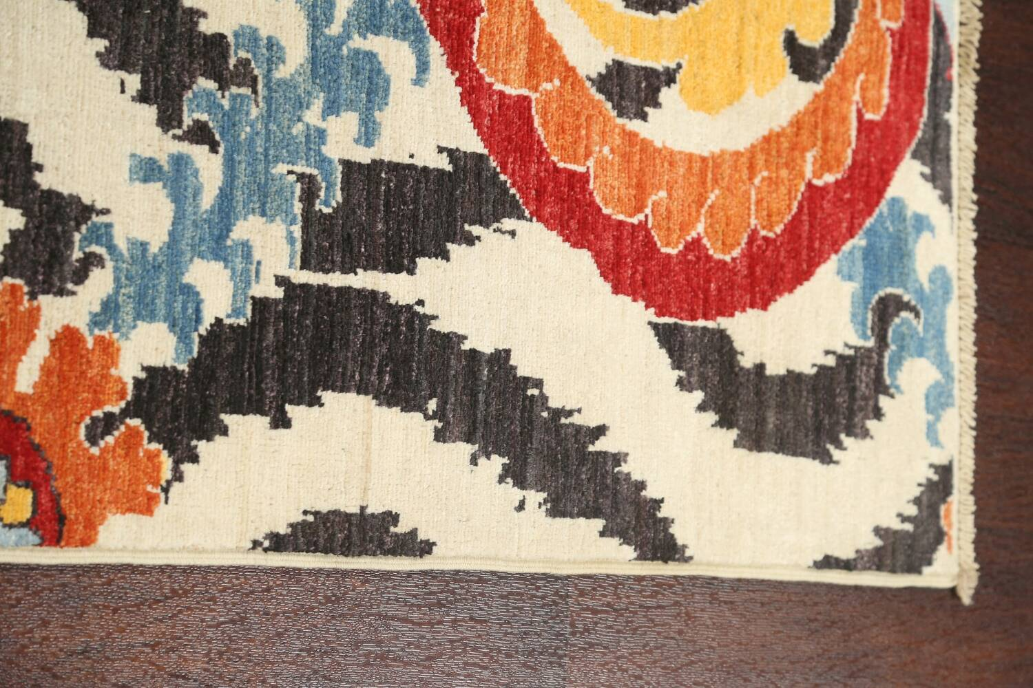 All-Over Floral IKats Oriental Runner Rug 3x8 image 12