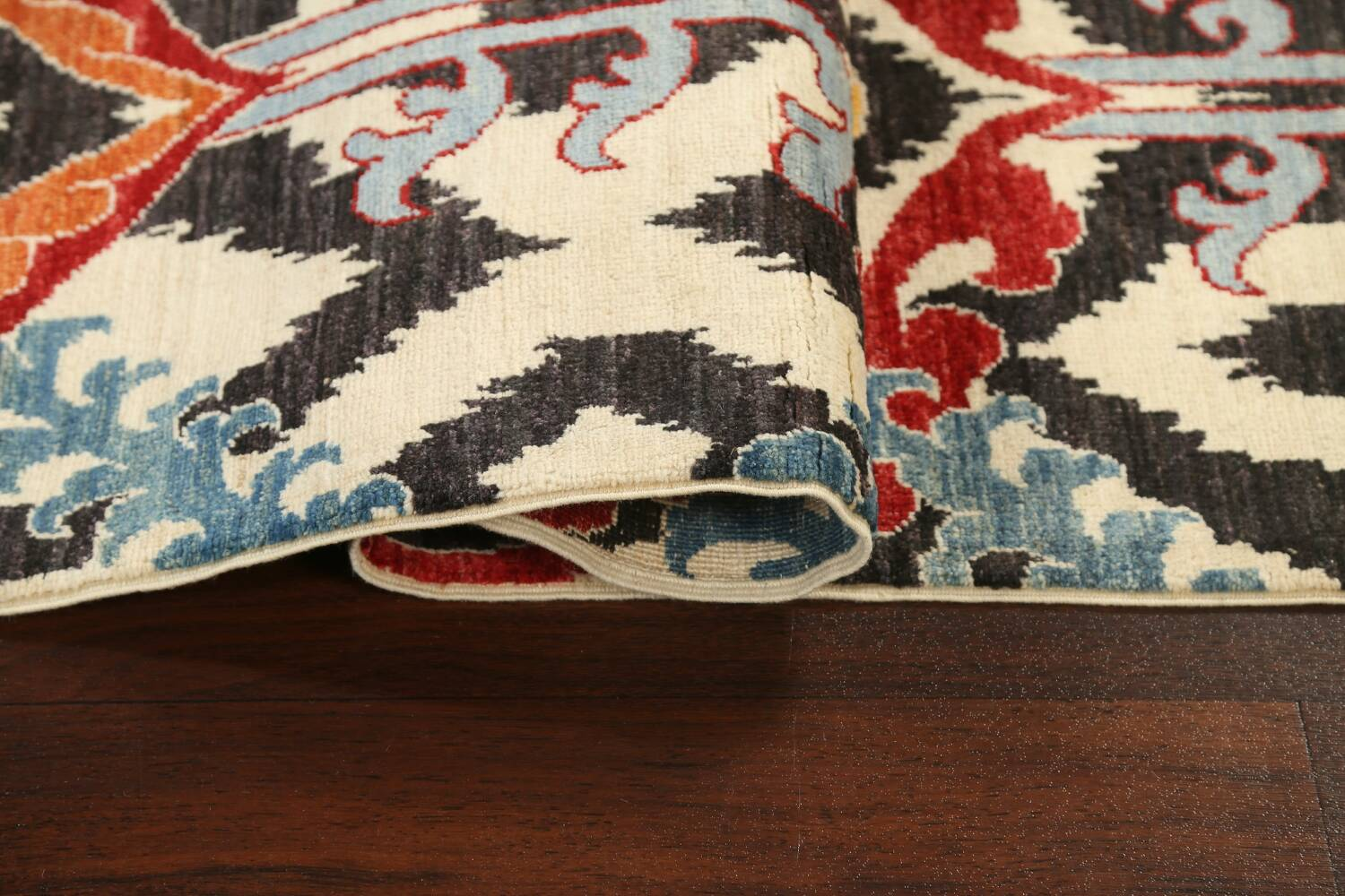 All-Over Floral IKats Oriental Runner Rug 3x8 image 13