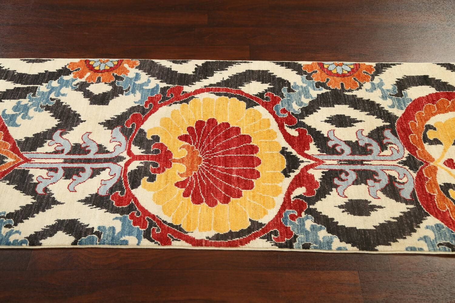 All-Over Floral IKats Oriental Runner Rug 3x8 image 14