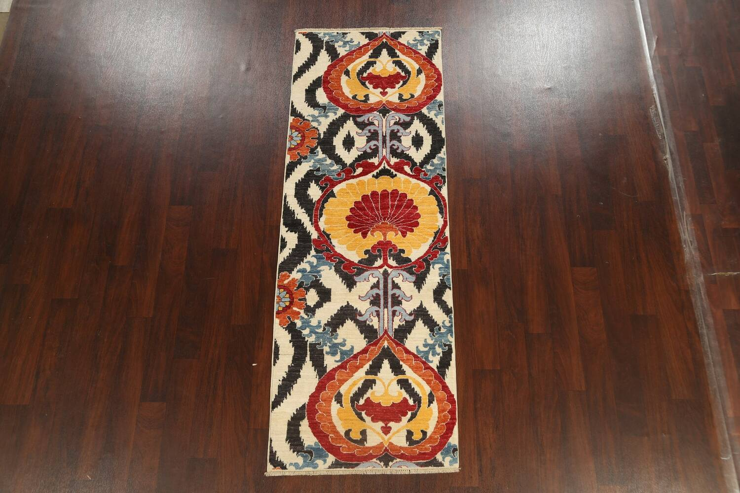 All-Over Floral IKats Oriental Runner Rug 3x8 image 15