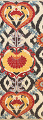 All-Over Floral IKats Oriental Runner Rug 3x8 image 1