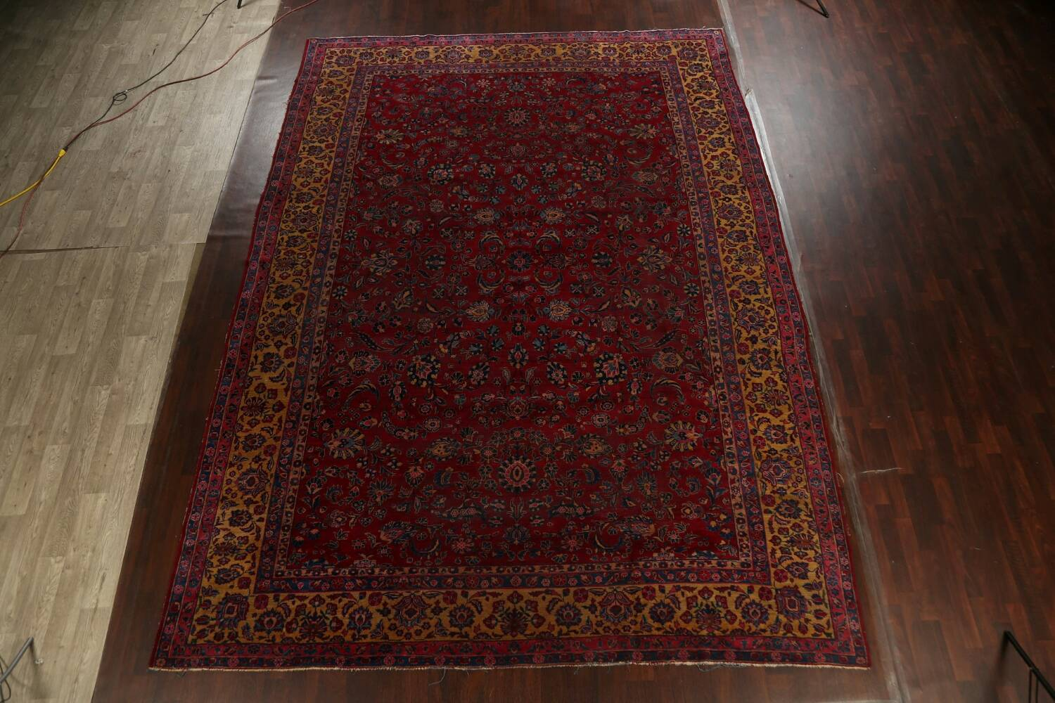 Pre-1900 Antique Vegetable Dye Sarouk Persian Area Rug 11x15 image 2