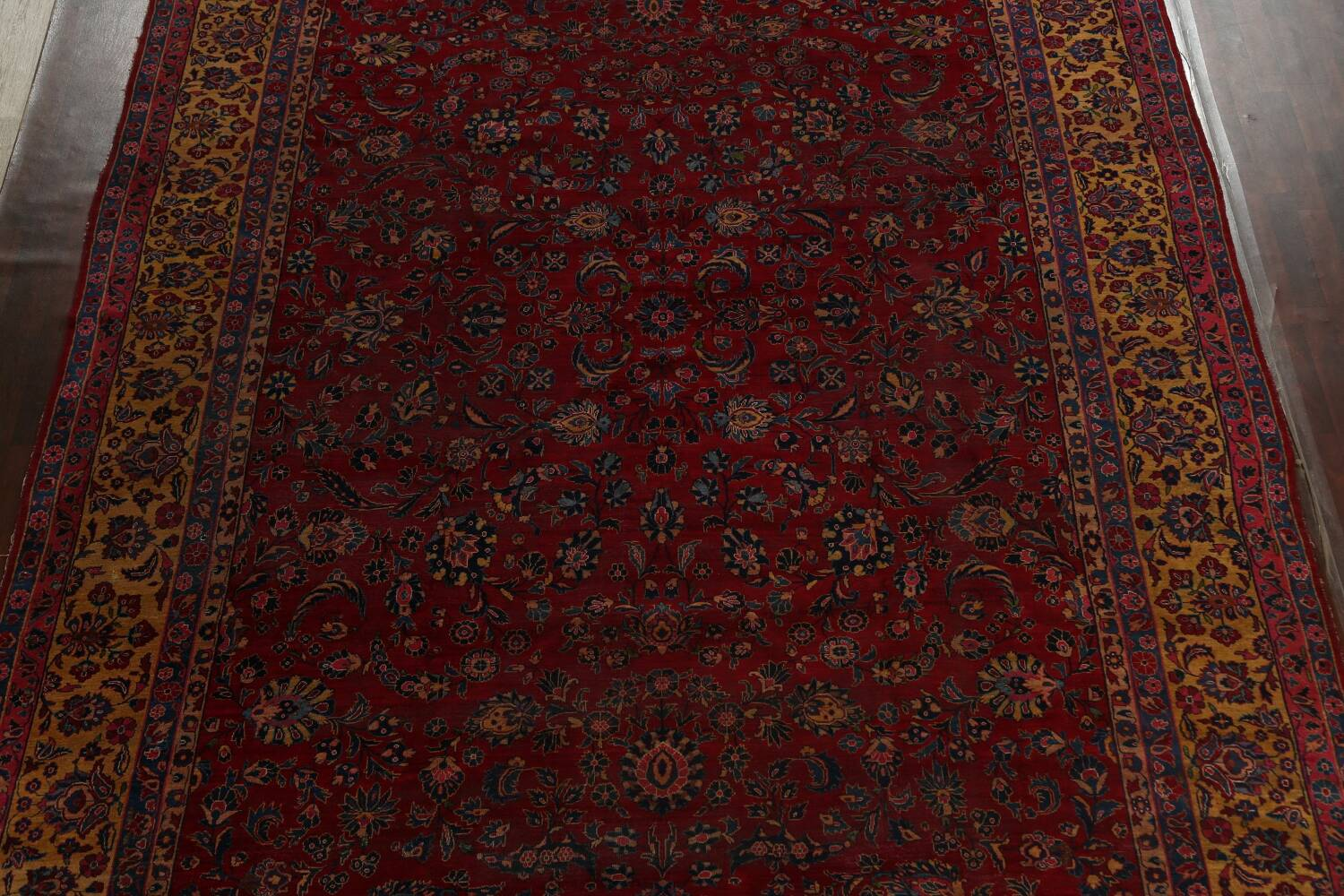 Pre-1900 Antique Vegetable Dye Sarouk Persian Area Rug 11x15 image 3