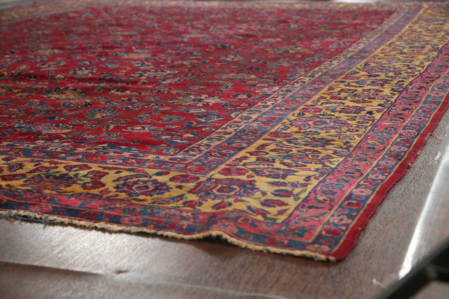 Pre-1900 Antique Vegetable Dye Sarouk Persian Area Rug 11x15 image 6