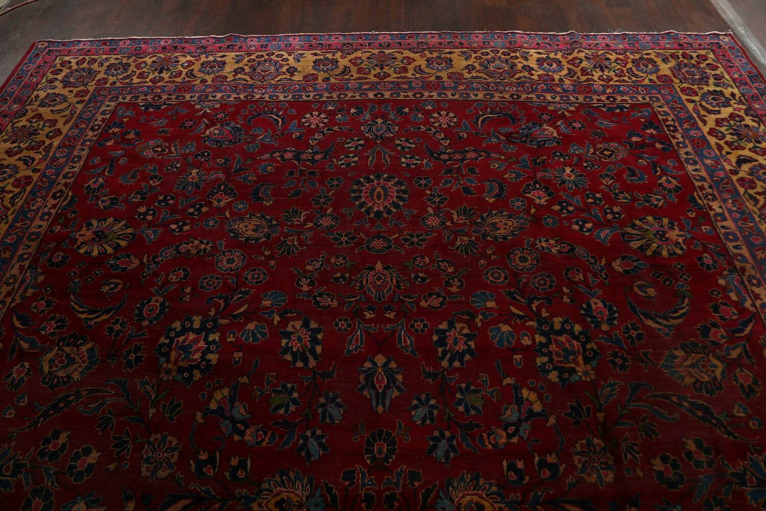 Pre-1900 Antique Vegetable Dye Sarouk Persian Area Rug 11x15 image 12