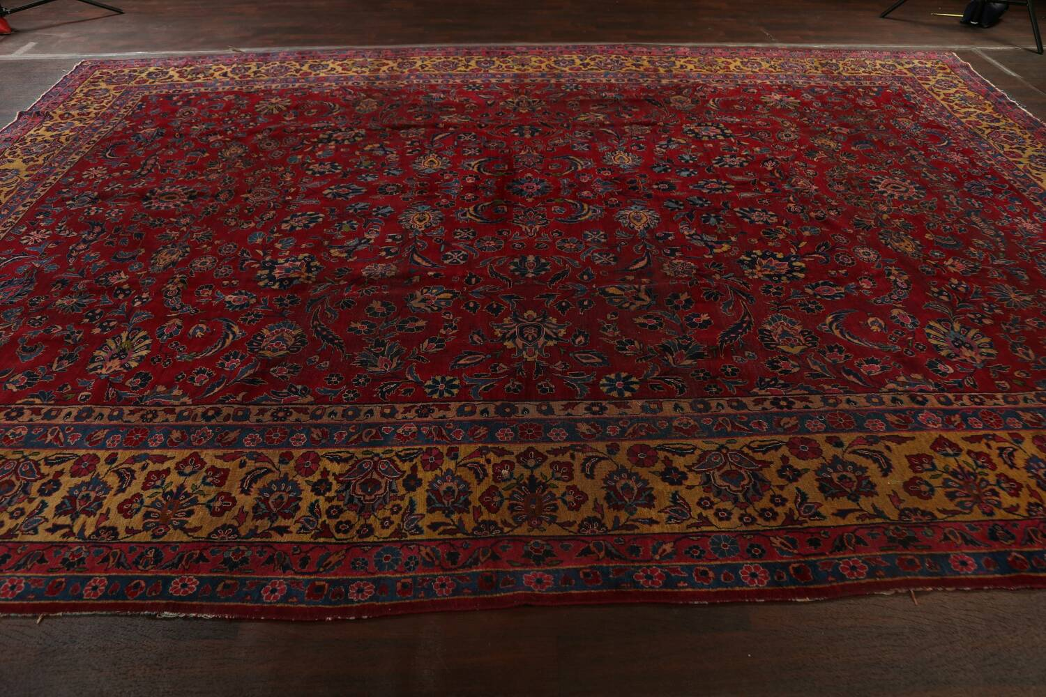 Pre-1900 Antique Vegetable Dye Sarouk Persian Area Rug 11x15 image 15
