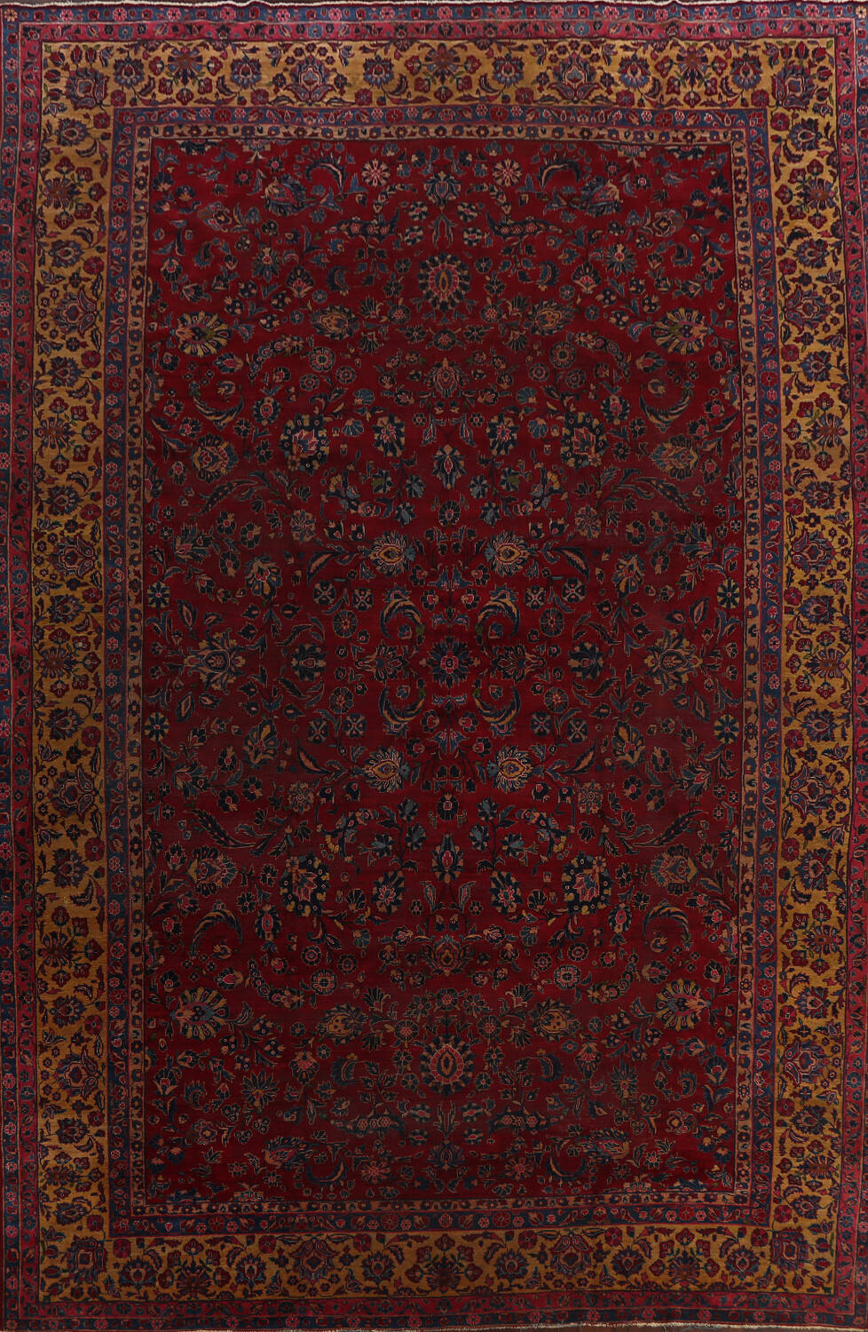 Pre-1900 Antique Vegetable Dye Sarouk Persian Area Rug 11x15 image 1