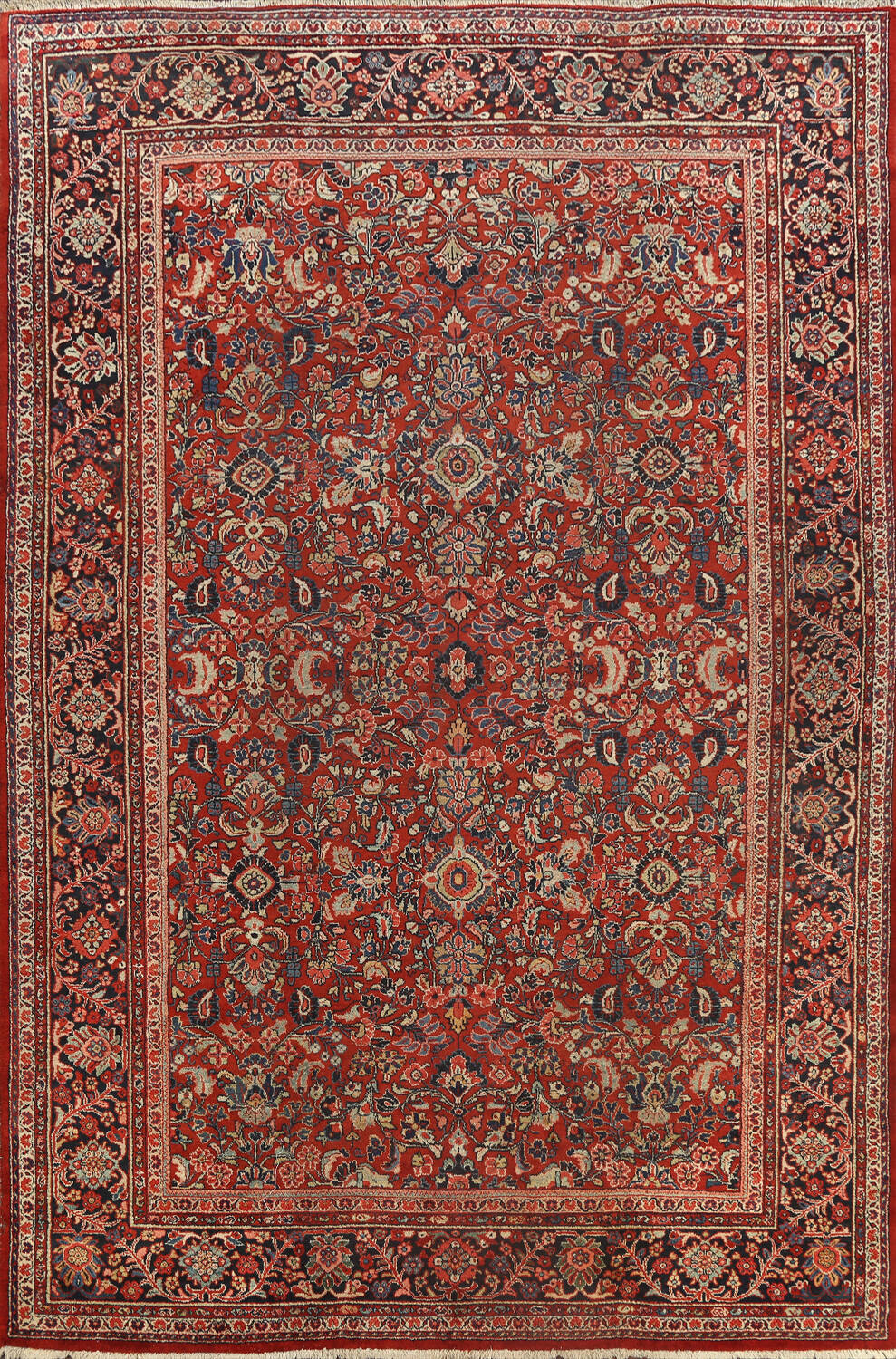 Antique Vegetable Dye Floral Mahal Persian Area Rug 10x14 image 1