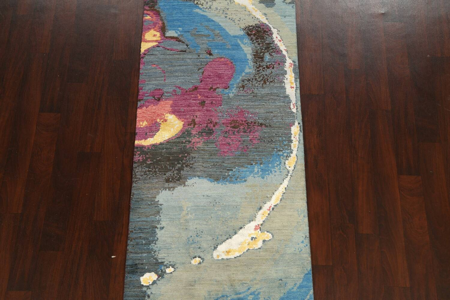 Artistic Contemporary Abstract Oriental Runner Rug 3x9 image 3