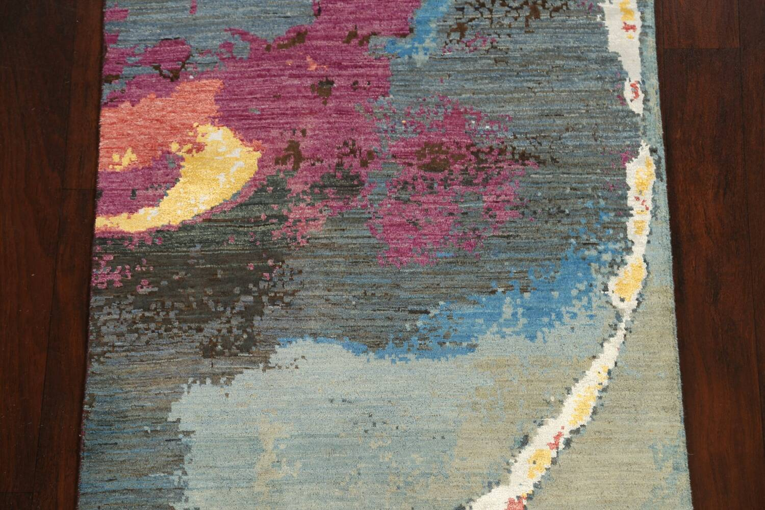 Artistic Contemporary Abstract Oriental Runner Rug 3x9 image 4