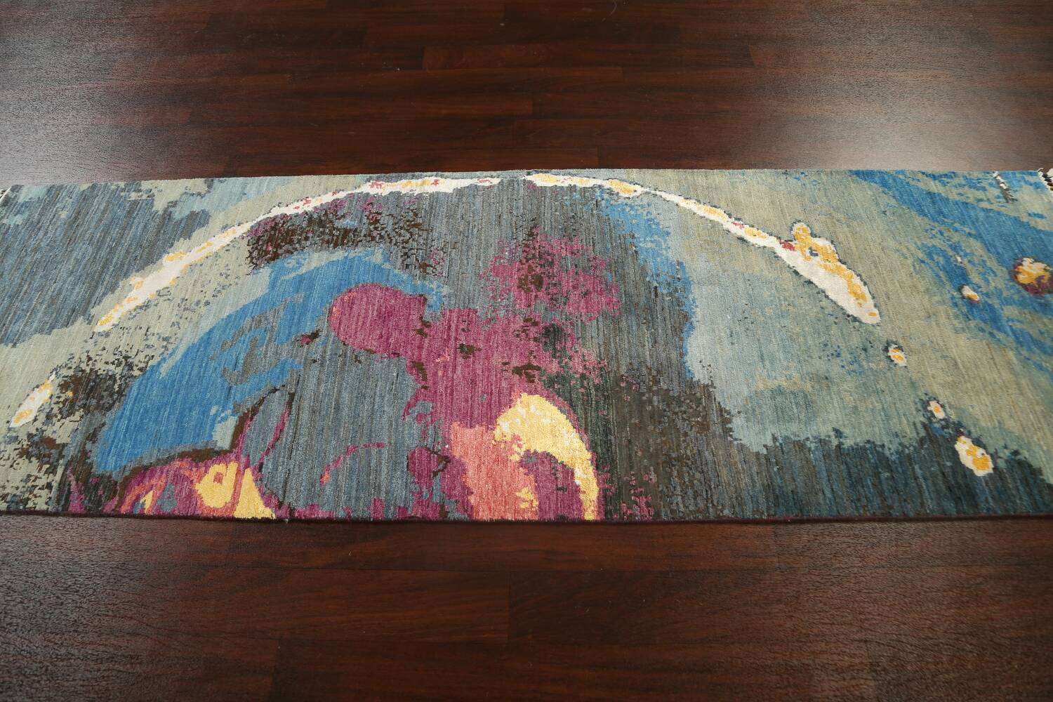 Artistic Contemporary Abstract Oriental Runner Rug 3x9 image 15