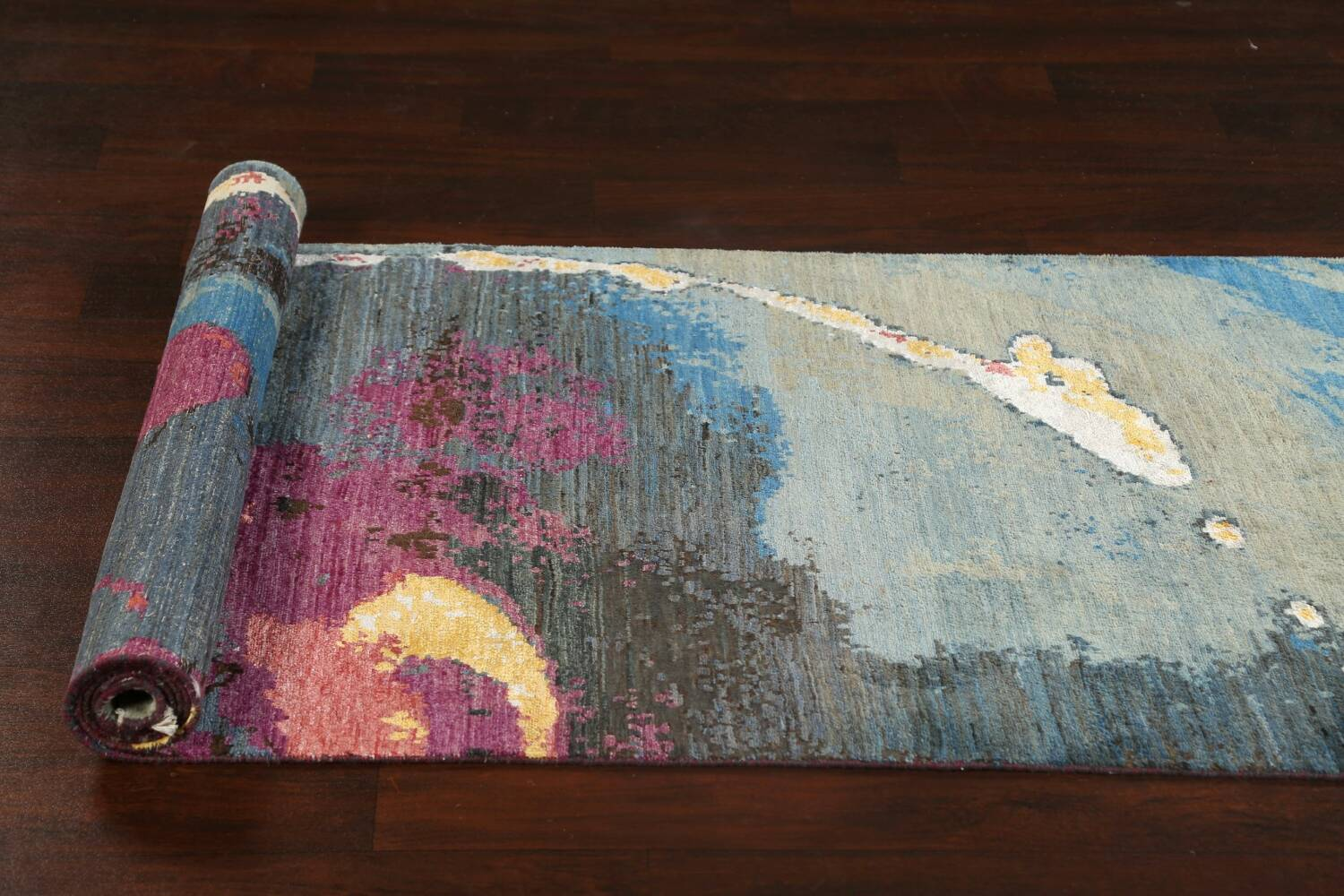 Artistic Contemporary Abstract Oriental Runner Rug 3x9 image 17