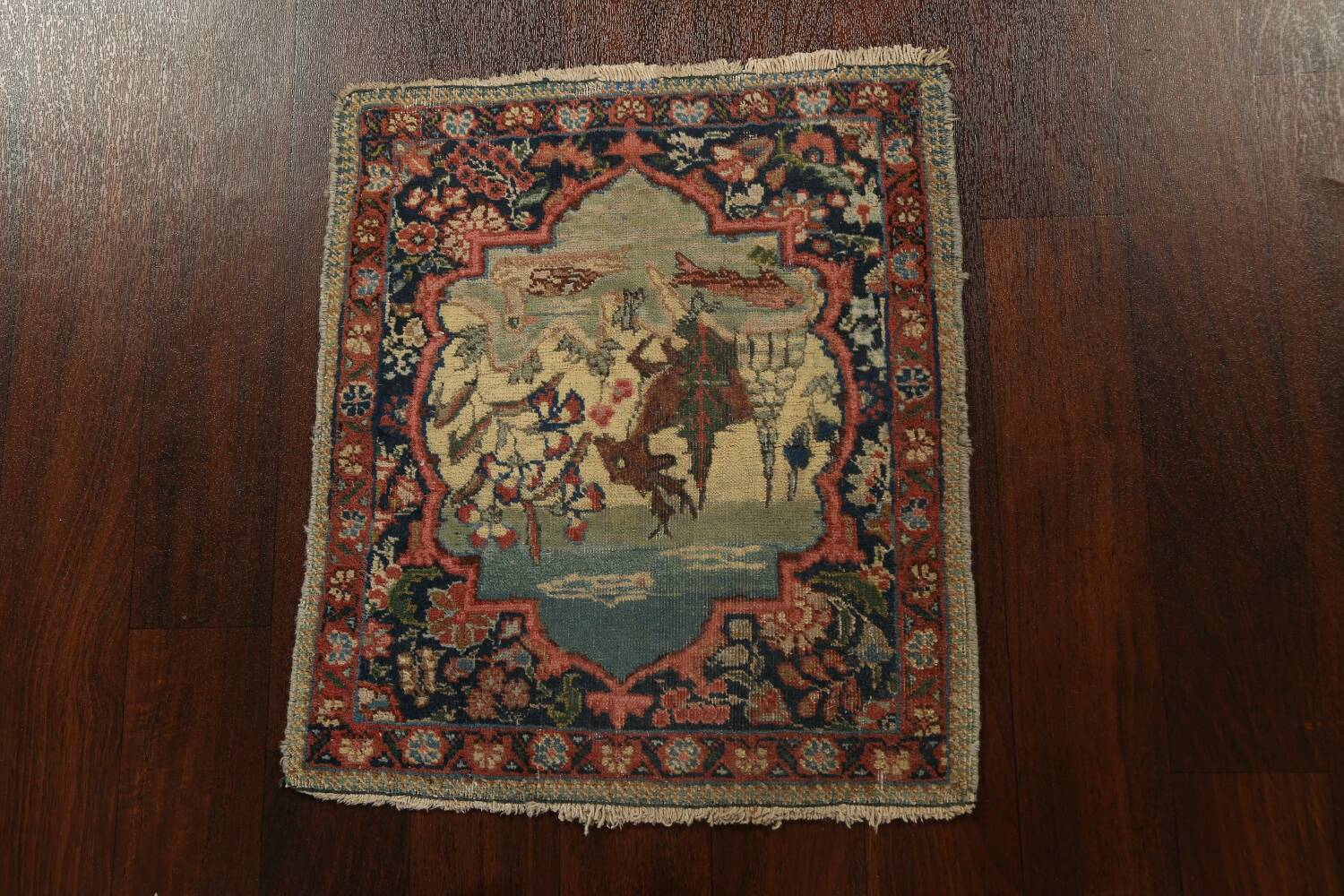 Vegetable Dye Pictorial Tabriz Persian Area Rug 2x2 Square image 15