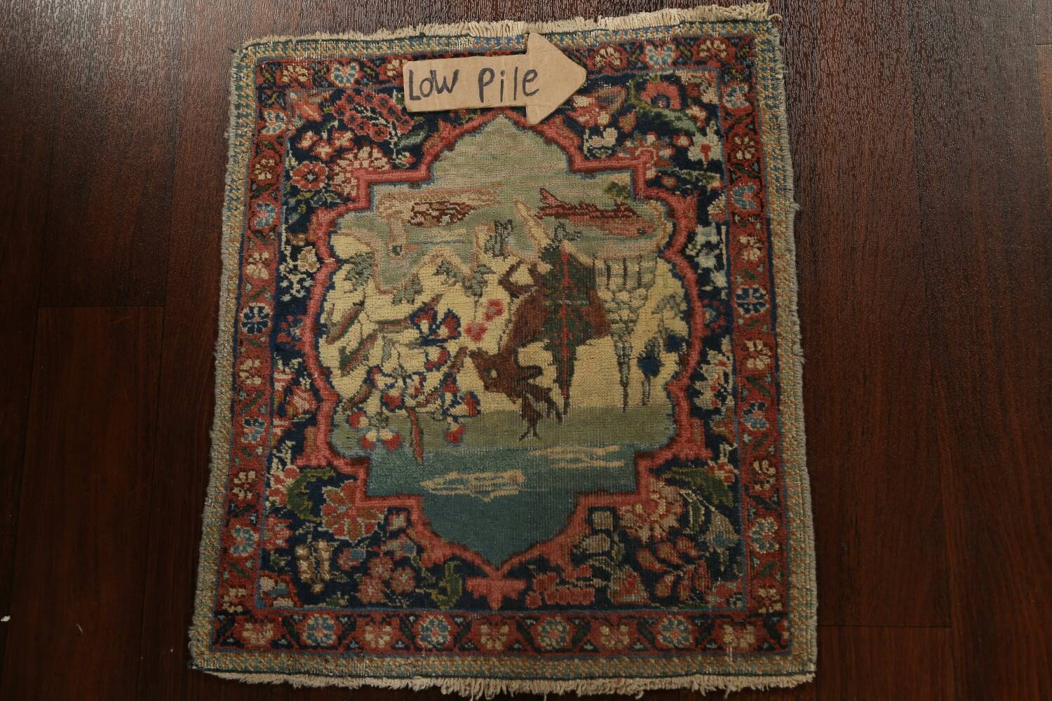 Vegetable Dye Pictorial Tabriz Persian Area Rug 2x2 Square image 11