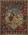 Vegetable Dye Pictorial Tabriz Persian Area Rug 2x2 Square image 1