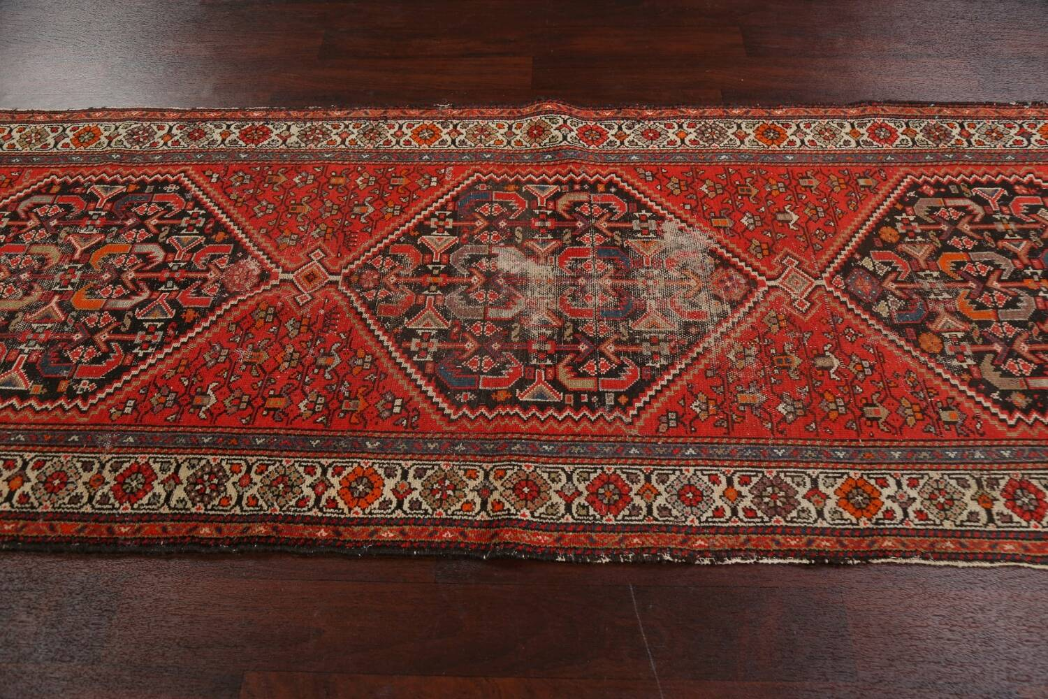 Antique Vegetable Dye Malayer Persian Runner Rug 3x11 image 13