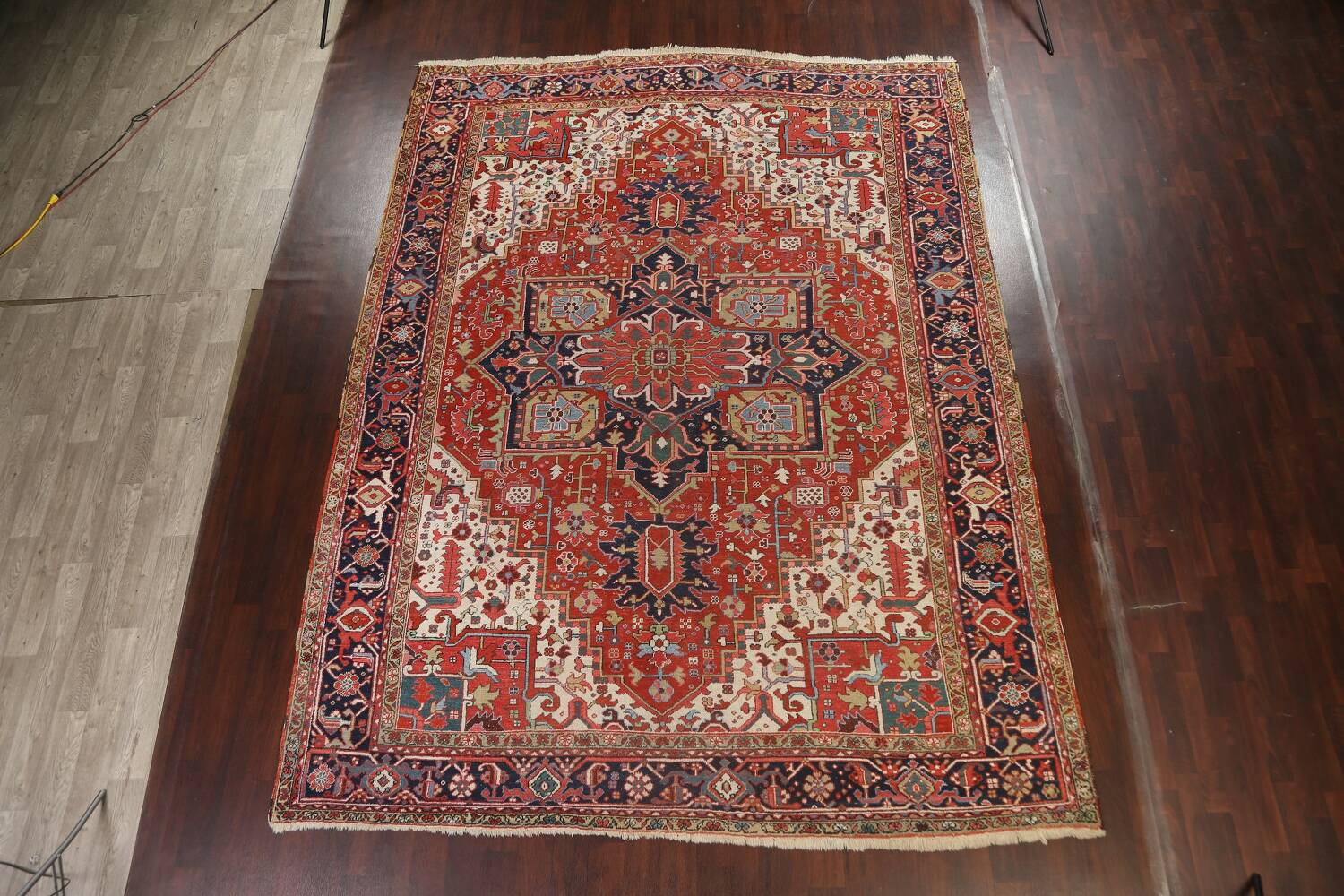 Pre-1900 Antique Vegetable Dye Heriz Serapi Persian Area Rug 10x13 image 2
