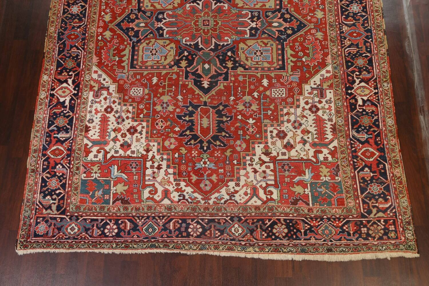 Pre-1900 Antique Vegetable Dye Heriz Serapi Persian Area Rug 10x13 image 8