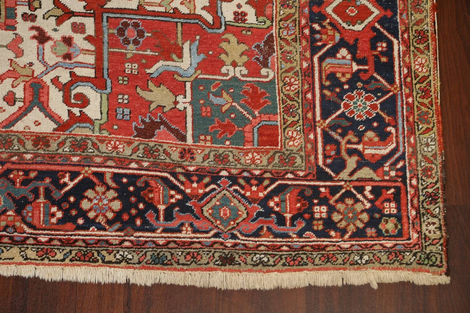 Pre-1900 Antique Vegetable Dye Heriz Serapi Persian Area Rug 10x13 image 5