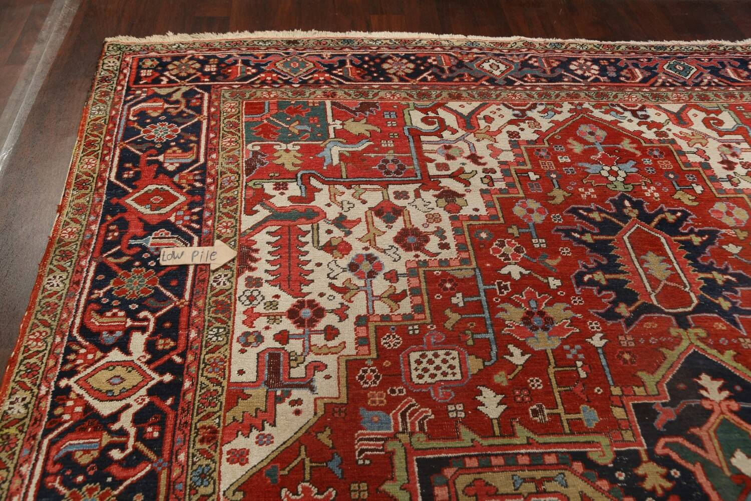 Pre-1900 Antique Vegetable Dye Heriz Serapi Persian Area Rug 10x13 image 14