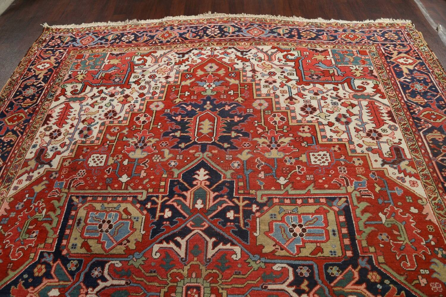 Pre-1900 Antique Vegetable Dye Heriz Serapi Persian Area Rug 10x13 image 15