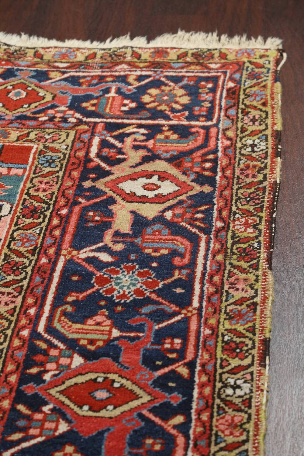 Pre-1900 Antique Vegetable Dye Heriz Serapi Persian Area Rug 10x13 image 16