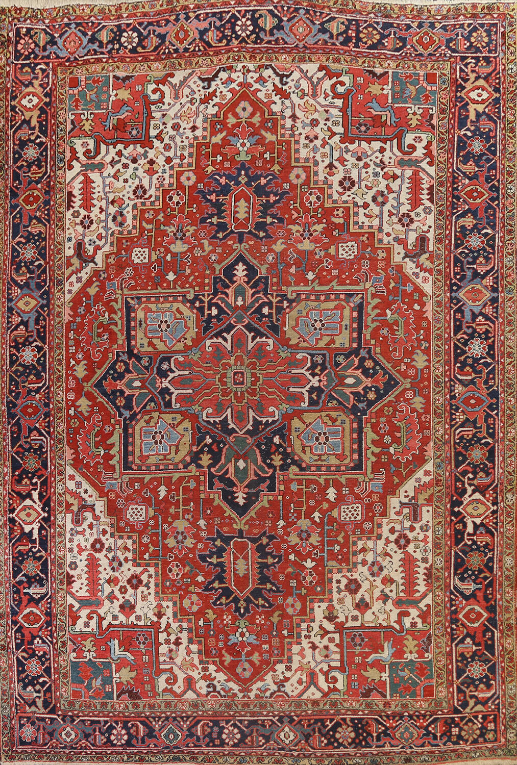 Pre-1900 Antique Vegetable Dye Heriz Serapi Persian Area Rug 10x13 image 1