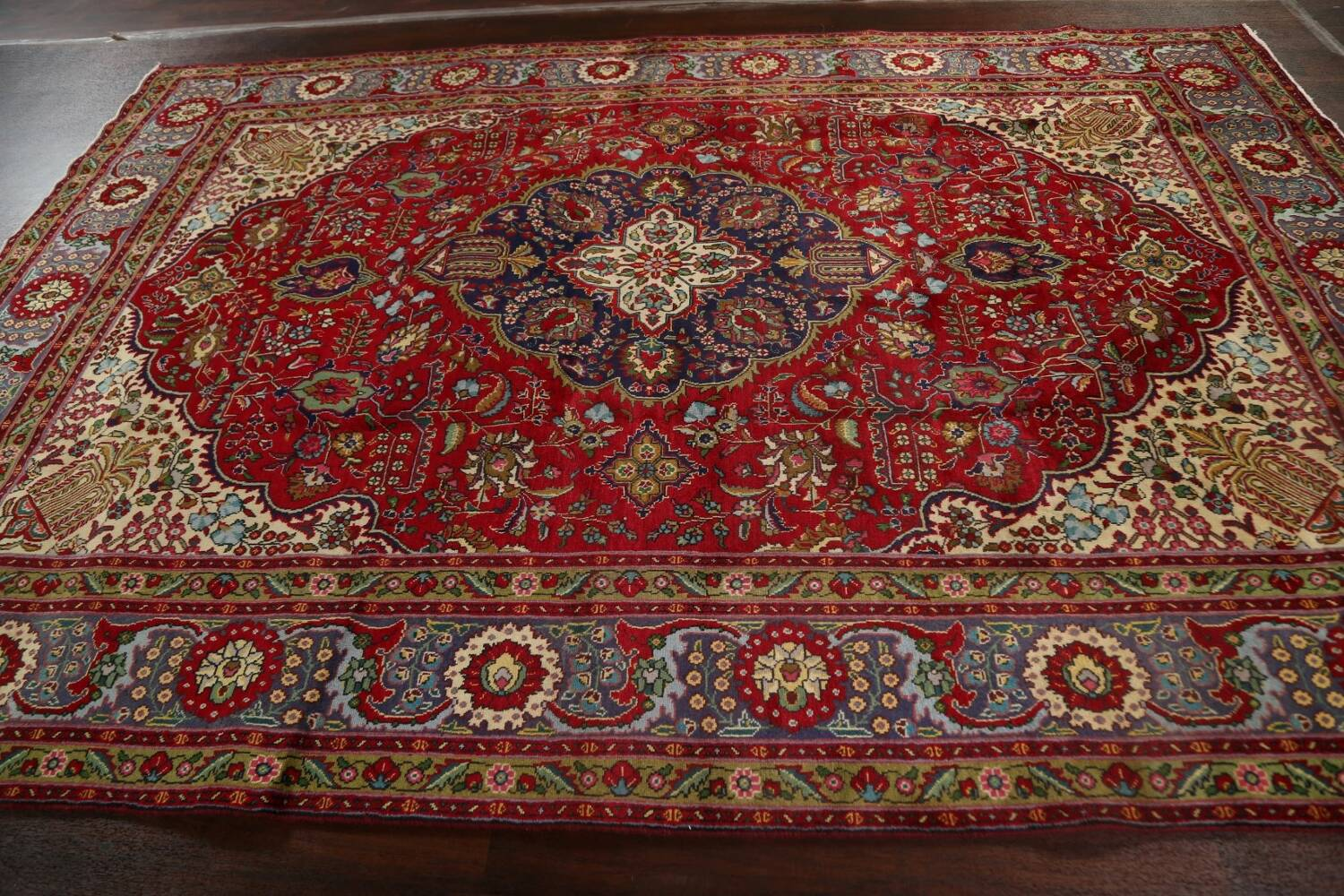 Floral Red Tabriz Persian Area Rug 8x12 image 18
