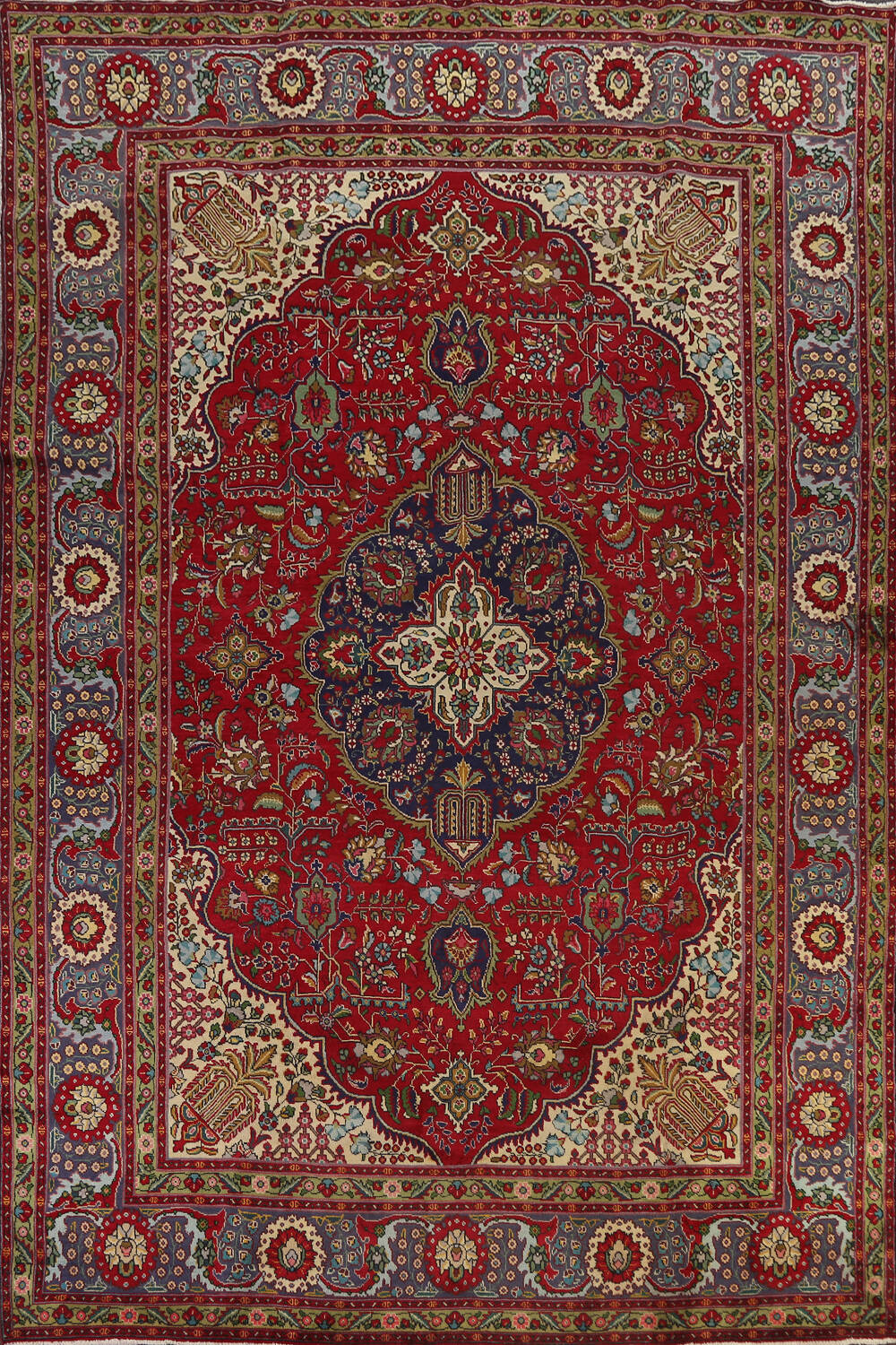 Floral Red Tabriz Persian Area Rug 8x12 image 1