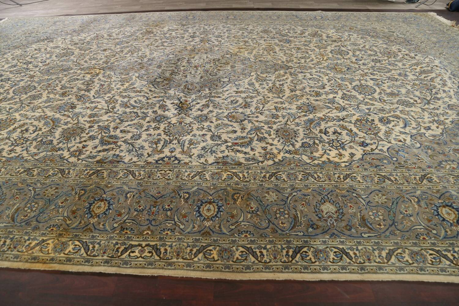 Traditional Floral Kashan Persian Area Rug 13x20 image 21