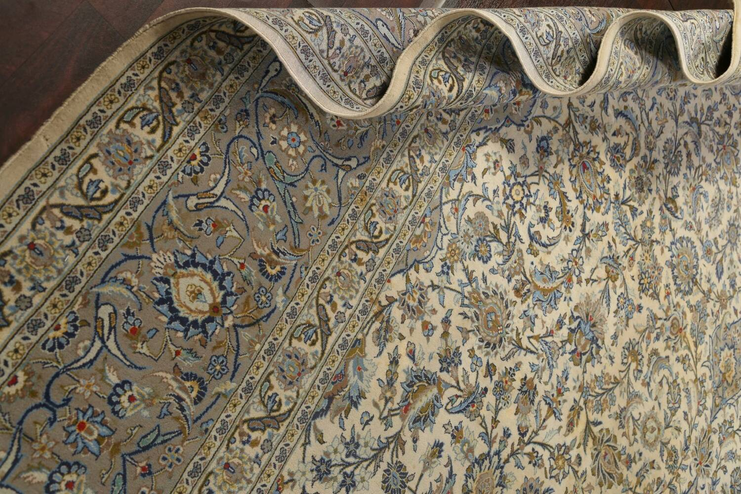 Traditional Floral Kashan Persian Area Rug 13x20 image 24