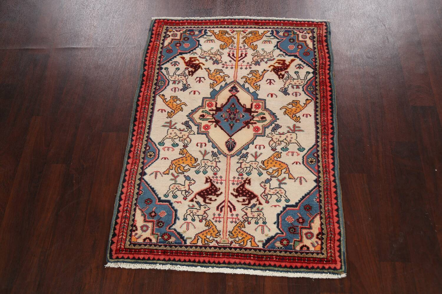 Animal Pictorial Vegetable Dye Senneh Persian Area Rug 3x5 image 2