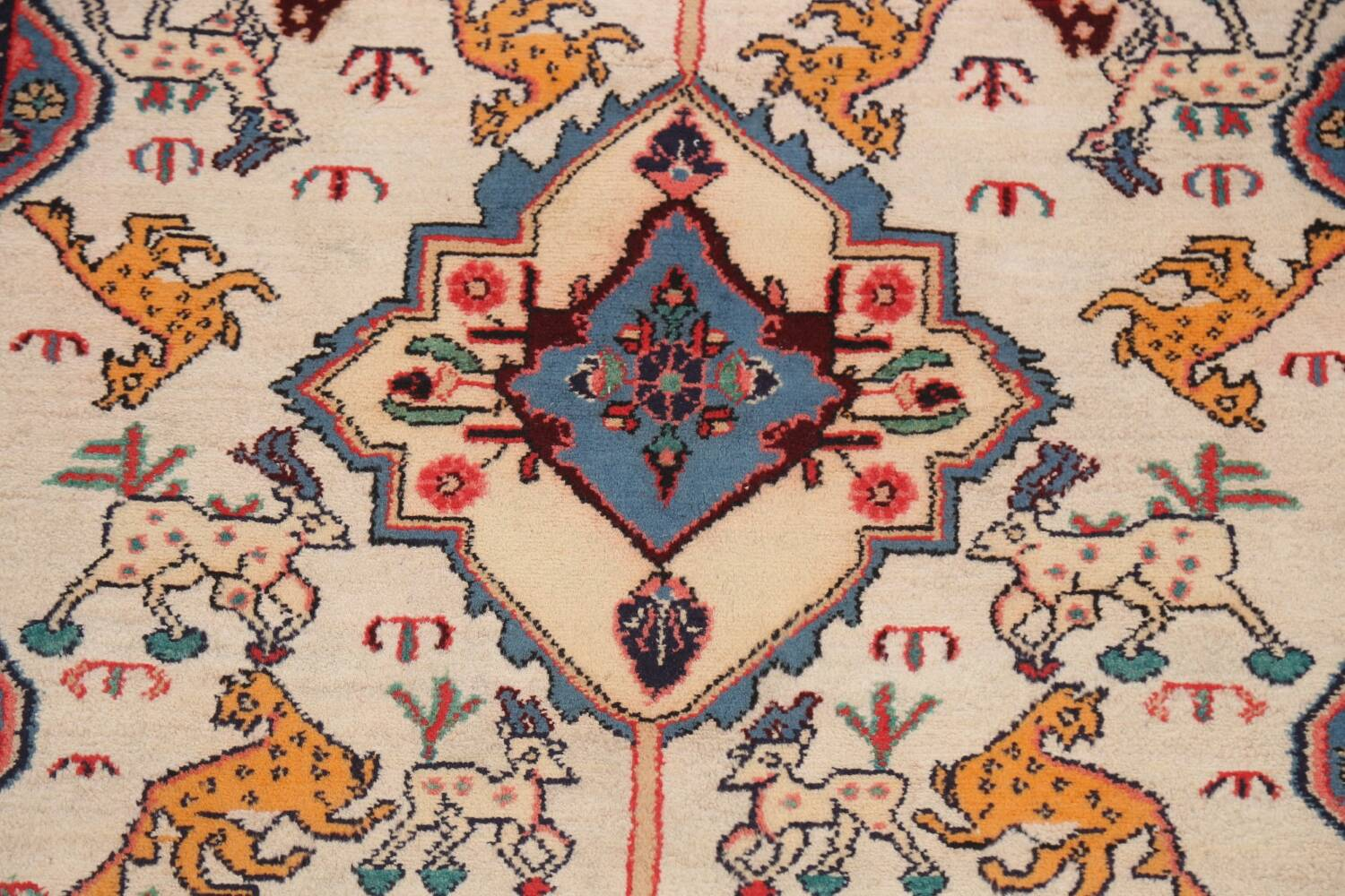 Animal Pictorial Vegetable Dye Senneh Persian Area Rug 3x5 image 4